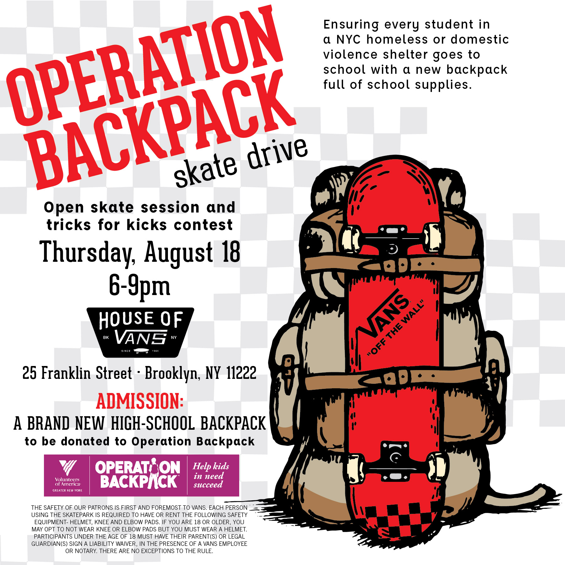 Tonight: Operation Backpack Skate Drive @HOV (2016)