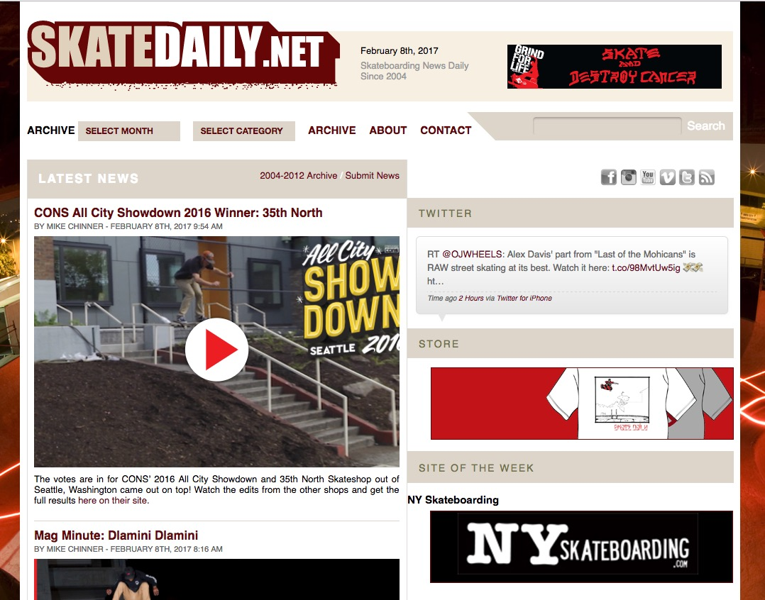 NYSB – Site of the Week on SkateDaily.net (2017)