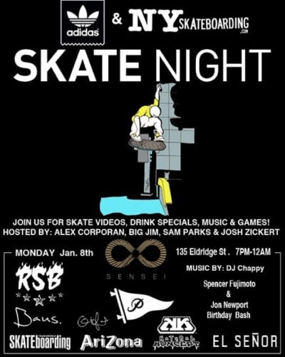 Skatenight NYC 1.8.2018 @ Sensei Gallery Bar | New York | New York | United States