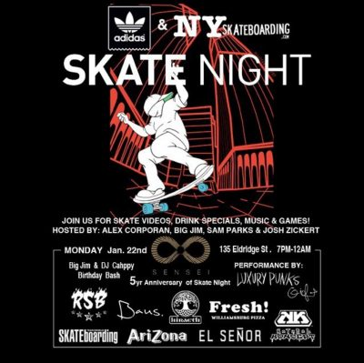 Skatenight NYC 1.22.2018 @ Sensei Bar | New York | New York | United States