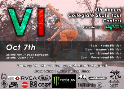 6th Annual Collegiate Skate Tour Contest @ Astoria Skatepark | New York | United States