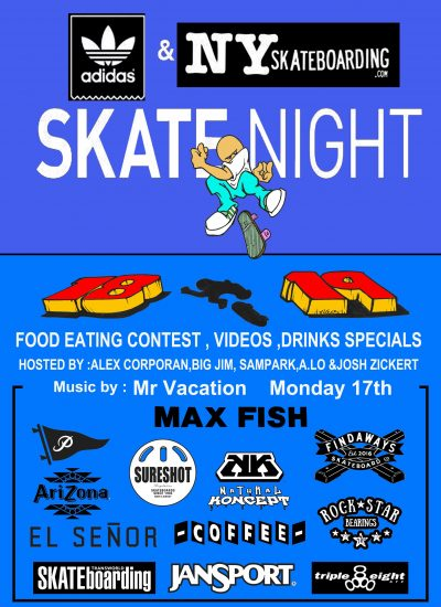 SkateNight NYC 12.17.2018 @ Max Fish | New York | New York | United States