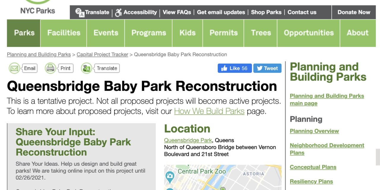"Queensbridge ""Baby"" Park Reconstruction – Help Request a Skatepark (2021)"
